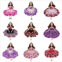 NK 2017  One Pcs Handmade Princess Wedding Dress Noble Party Gown For Barbie Doll Fashion Design Outfit Best Gift For Girl' Doll