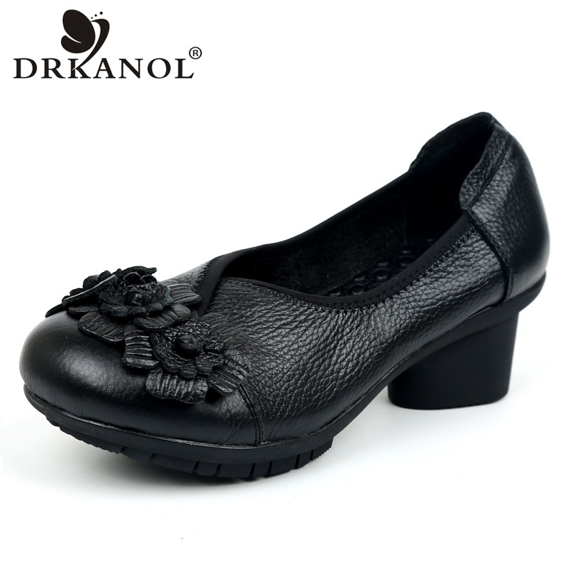 DRKANOL 2018 New Genuine Leather Thick Heel Women Shoes Retro Ethnic Style Flowers Round Toe High Heels Slip On Casual Shoes<br>
