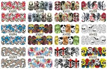 12 PACK/ LOT WATER DECAL NAIL ART NAIL STICKER SLIDER TATTOO FULL COVER HALLOWEEN HEAD BONE FLOWER A1093-1104