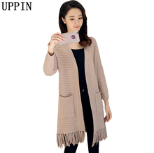 UPPIN Spring 2017 New Autumn Winter Knitted Crochet Sweater Women Long Twisted Cardigan Tassel Open Female Sweaters Cardigan