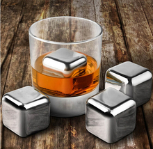4PCS/lot Whiskey Wine Beer Stones  Stainless Steel Cooler Stone Whiskey  Ice Cube Edible Alcohol Physical Chiller Stone