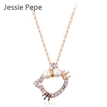 Jessie Pepe Italina Hello Kitty Necklace Colar With Austrian Crystal Stellux Zirconia Party Jewelry Top Quality #JP30556