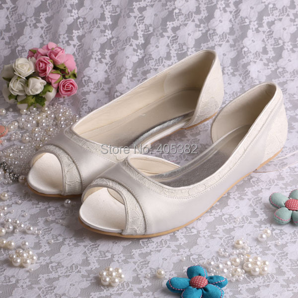 Wedopus Flat Ballerina Ladies Shoes Wedding Bridal shoes Lace Peep Toes<br>
