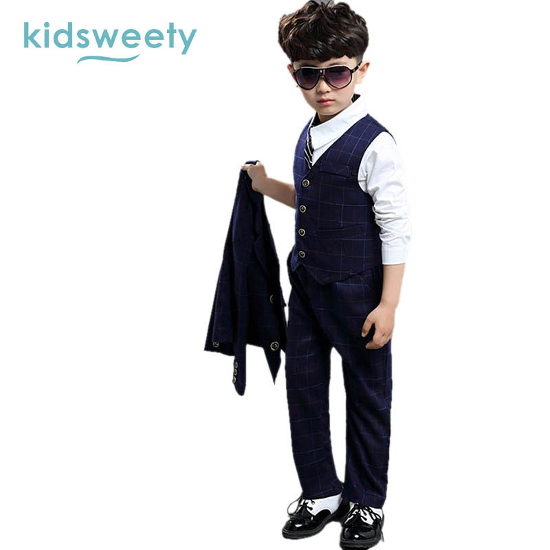 Kidsweety Boys Formal Suits Dark Blue Plaid Pattern Button Closure Pocket Vest Coat Pants 3 Sets Casual School Boys Formal Suits<br>