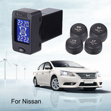 Car Wireless TPMS LCD Tire Pressure Monitor System with 4 External Sensor System Improve Fuel Efficiency Fits Nissan