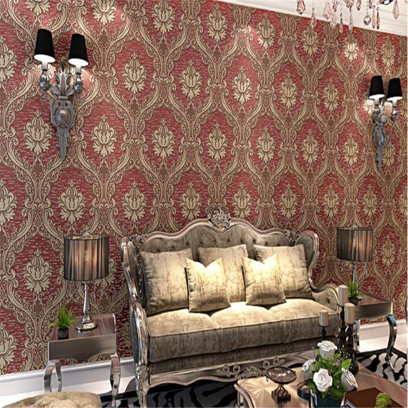 beibehang European 3D Stereo Thicker Bedroom Wallpapers Living Room TV Backdrop Damascus Non wovens wallpaper for walls 3 d<br>