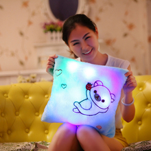 Square Bear Romantic Confession Gift With Light And Music Baterry Powered Decorative Shining Cushions Sound Lighting Cushions(China)
