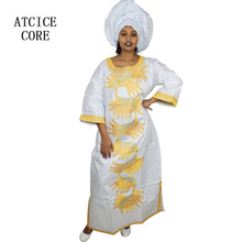 african dresses for women fashion design new african bazin embroidery design dress long dress with scarf african clothes A248#(China)