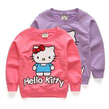 Baby Girls hoody sweatshirt autumn sweater kids clothes Hello Kitty Girl Cute Cotton T-shirt long sleeve jerseys New Arrival(China)