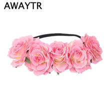 AWAYTR Bride Wedding Hair Jewelry Rose Flower Headband Headdress Floral Wreath For Women Girls Bohemian Headbands Headwear