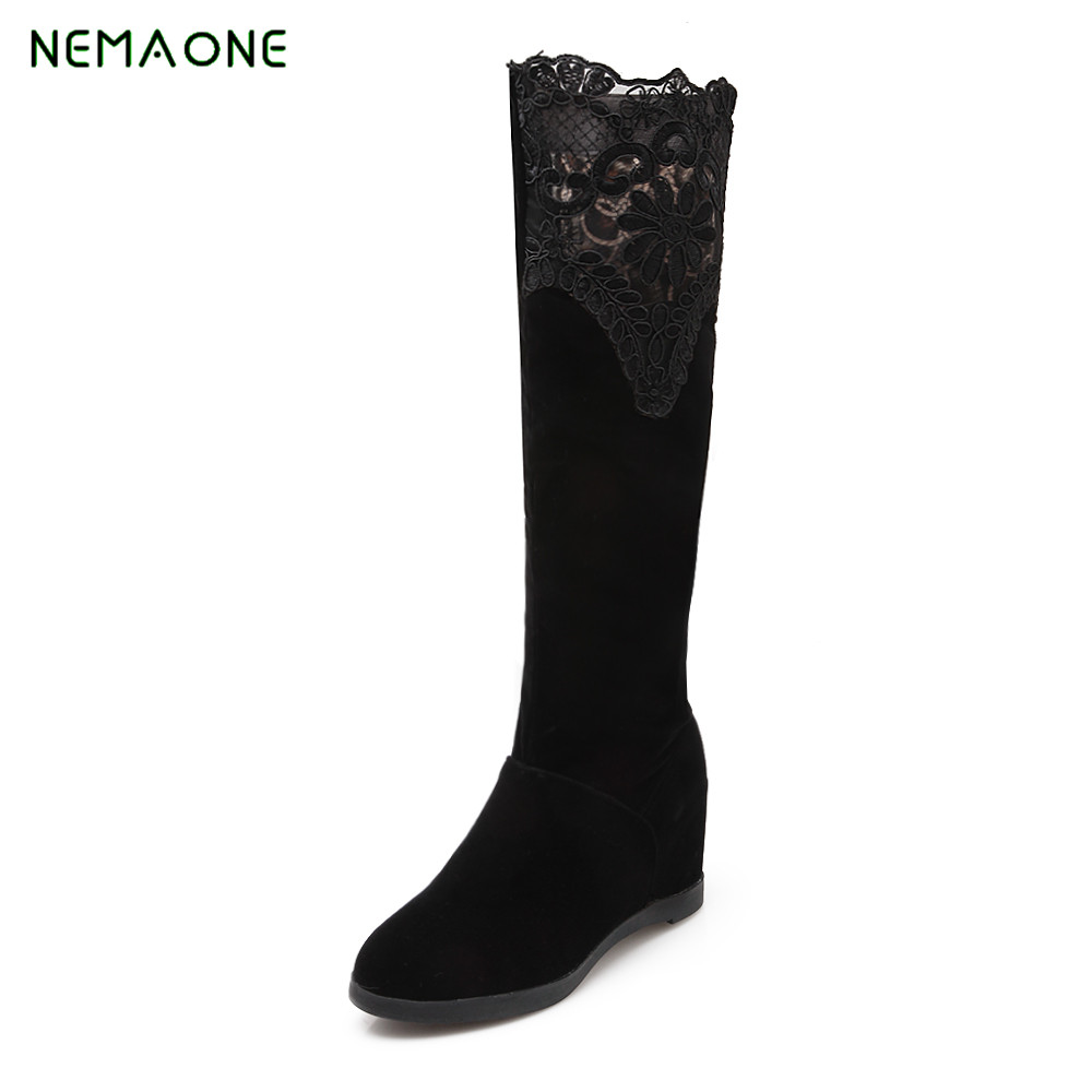NEMAONE new Women Knee High Boots 2017 New Autumn Winter PU Heel Wedges Heels Black Round toe Shoes<br>