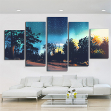 Night view Pattern Canvas Printing Calligraphy Wall Pictures For Living Room 5 Piece Decor Art Fabric Cloth Bauhaus Style(China)