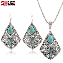 SHIJIE Bohemian Vintage Turquoises Hollow Pendants Necklace Earrings Silver color Wedding Jewelry Sets Fashion Bijoux Femme Gift(China)