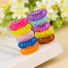 5pcs Plastic Stretchy Elastic Coiled Phone Wire Hair Bands Ponytail Holder Telephone Cord Head Rope HairBand Hair Accessories(China)