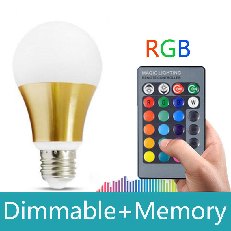Lampada Led RGB E27 10W 16 color with Remote Control Led Bulb Light Lamp Dimmable 110v 220v magic Holiday Christmas RGB lighting<br><br>Aliexpress