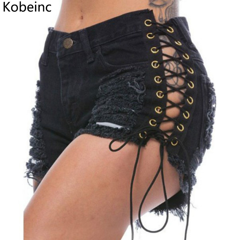 Image Kobeinc Summer Solid Lacing Women Denim Shorts New Hole Short Feminino Slim Sexy Plus Size S Xl Jeans Shorts for Female