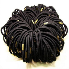 Hot 10Pcs Girls Black Elastic Hair Ties Band Rope Ponytail Holder Bracelets Scrunchie 7FR4(China)