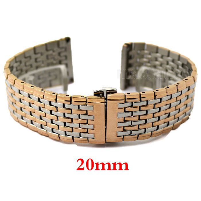 20mm Rose gold Color Butterfly Buckle Wrist Quartz Watch Stainless Steel Band Strap Bracelet 2 * Spring Bars GD013320<br><br>Aliexpress