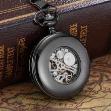 New OYW-P02 Hand Winding Mechanical Black Pocket Watch Men Vintage Black Skeleton Dial necklace pendant Pocket Chain Watches