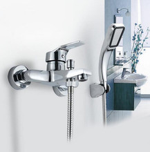Wall mounted bathtub faucet with hand shower waterfall bath faucet brass chrome finish bath shower mixer(China)