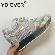 YD-EVER Spring Summer Shoes Woman Lace Up Women mesh Casual Shoes Hidden Heel Sport Shoes Breathable platform wedge sneakers(China)