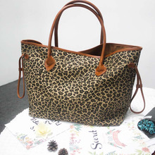 Small MOQ Leopard Canvas Tote Cheetah Purse PU Handle Large Handbag DOM106388(China)