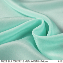 SILK CREPE DE CHINE 114cm width 12momme/100% Natural Mulberry Silk Fabric DIY Matt Color Women Evening Dress Turquoise NO 12(China)