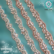 (1 YARD) Handmade sewing bridal beaded rose gold clear crystal rhinestone applique trim iron on for wedding dress sash WDD0405(China)