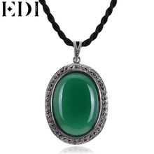 EDI Flower Jade Pendant Necklace 925 silver Emerald Chalcedony gemstone Pendants Necklaces Women pingentes para colar Jewelry(China)