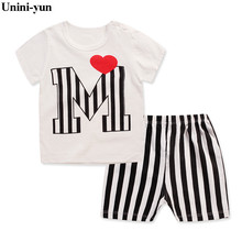 9M-6Y New Fashion Kids Clothes Boys Summer Set Striped Shirt Short Pants Baby Boy Clothing Set Toddler Boy Summer Clothes Set(China)