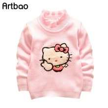 Quality 1-4years turtleneck knitted sweaters girls baby kids children Clothing Clothes character kitty warm sweater girls