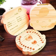 Baby teeth storage box natural wood crafts storage box for kids tooth souvenir Home decor figurine