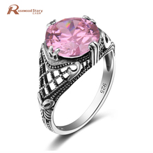 Hot Sale Pink Round Stone Ring Charm Handmade Engagement Ring Created Crystal 925 Sterling Silver Halo Rings For Women Spinner