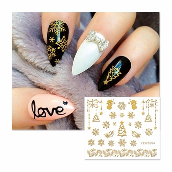 ZKO New Styles 3D Nail Stickers Beauty  Hot Gold Christmas Design Nail Art Charms Nails Bronzing Decals Decorations Tools  6004