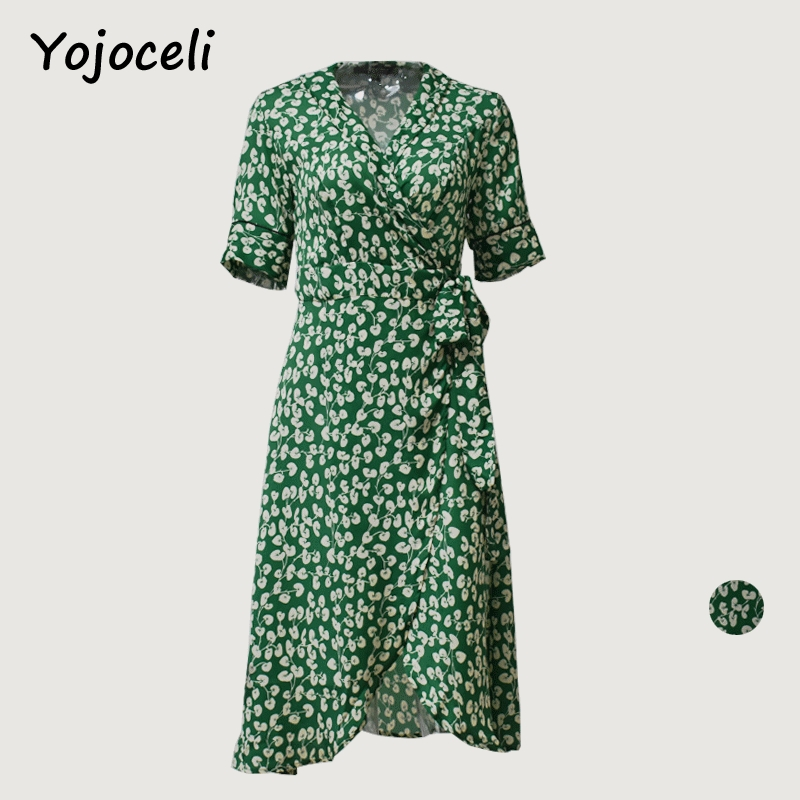 Yojoceli vintage green print asymmetrical dress sexy deep v neck bow dress street chic charming wrap midi dress vestidos(China)