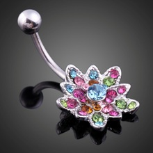 2017 New Promotion 1 Piece Twinkling Lotus Flower Pendant Woman Belly Button Ring Piercing Ombligo Art Colorful Body Jewelry
