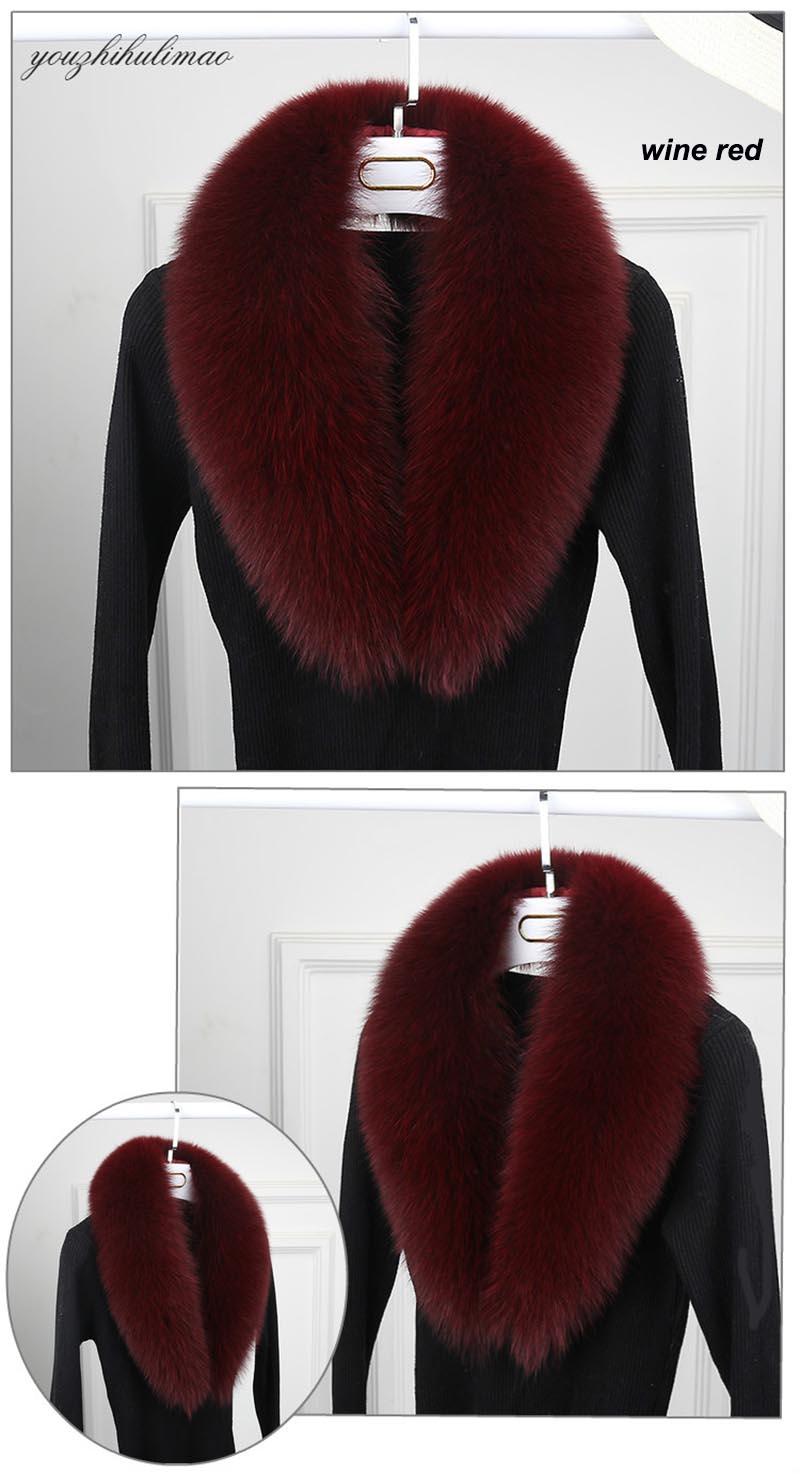 fox fur collar wine red