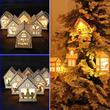 Fashion Christmas Wooden House LED Lights Xmas Interior Tree Hanging Ornament Home Decoration E2S(China)