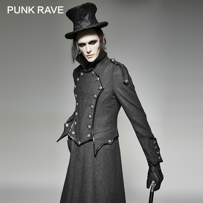 PUNK RAVE Steampunk Military Uniform Long Casual Coats Jackets Gothic England Vintage Men Winter Twill Wool