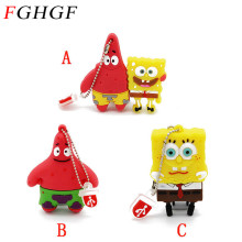 FGHGF Sponge Bob usb flash drive cartoon Patrick Star&Sponge Bob Pendrive USB2.0 Flash 4GB/8GB/16GB/32GB Memory Stick(China)
