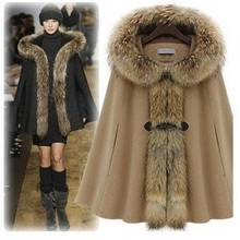 Fashion Star Style Luxury Elegant Poncho Fur Collar Overcoat Outerwear Camel Women'S Winter Wear