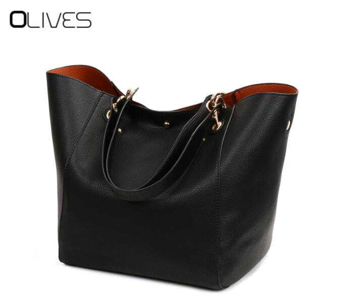 Women Messenger Shoulder Bag Big PU Leather Bag Female Genuine Black Handbag Lady Tote Crossbody Bag sac a main femme de marque<br>