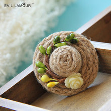 Fashion Vintage Bohemia Linen Hat Pistils Flower Brooch Pins for Women Party Dresses Brooches Hair Clip Brooch 2015 Brand BR-32