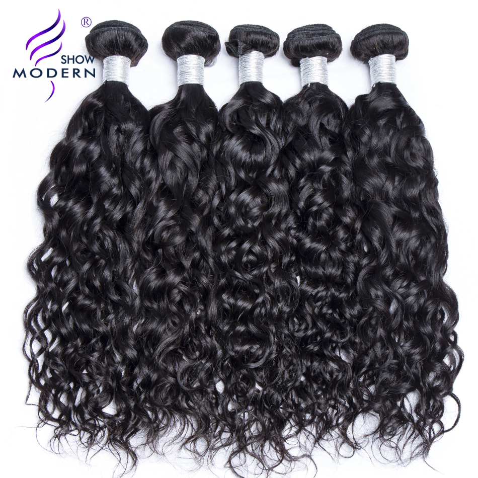 Modern Show Peruvian Water Wave Human Hair Bundles 1 Piece Natural Color 100 Bouncy Remy Hair Extension 10''-28'' Free Shipping(China)