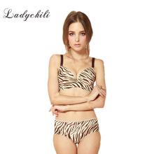 Print Zebra Stripes Wire Free Seamless Bra Thick Molded Foam One Piece Push Up Bra Brand Brassiere Soutien Gorge Strappy Bra D20