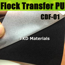 CDF-01 Black Flocking Heat Transfer Vinyl for Garment top quality, flock transfer pu film size:50*100cm/lot with free shipping
