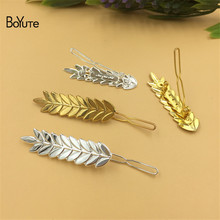 BoYuTe 10Pcs 50*13MM Leaves Shape Frog Clip Hairpin Metal Iron Diy Women Hair Ornaments Jewelry Accesories(China)
