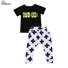 Summer  Children Clothing  Kids Baby Boys Cool Clothes Short Sleeve Tops+ Long Pants Boy Outfits  2PCS