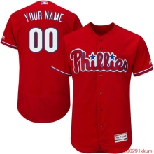 MLB Men's Philadelphia Phillies Baseball Alternate Scarlet Flex Base Authentic Collection Custom Jersey(China)