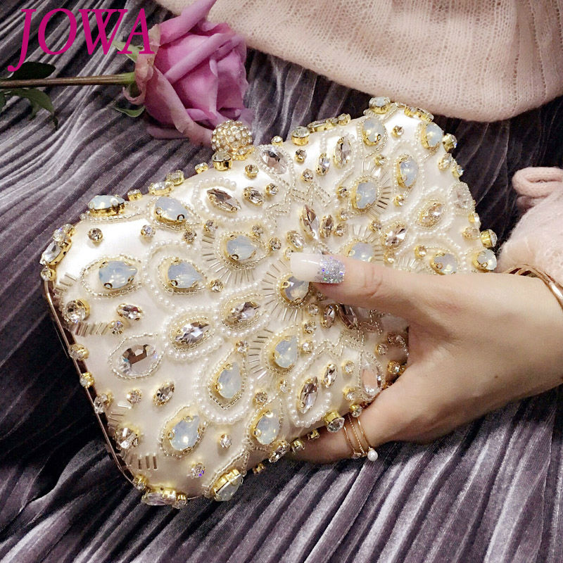 2017 Evening Bags Socialite Diamonds Handbags Night Party Bag Fashion Clutch Ladies Pink Handbag Quality Satin Package 2 Colors<br>